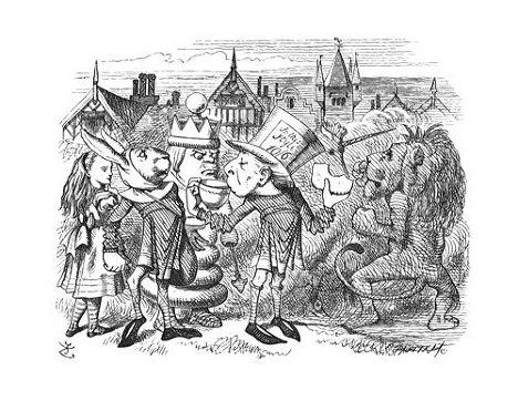 """Джон Тенниел. Первые иллюстрации к книге Льюиса Кэррола """"Алиса в Зазеркалье""""."""