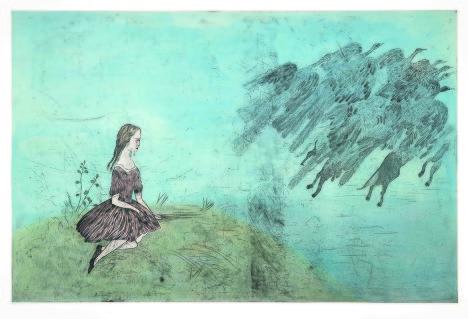 """Кики Смит. """"Come Away From Her"""" (После Льюиса Кэррола). Инталия, ручная раскраска, 2003 год."""