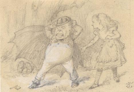 """Джон Тенниел. Эскиз иллюстрации к книге Льюиса Кэррола """"Алиса в Стране Чудес"""""""