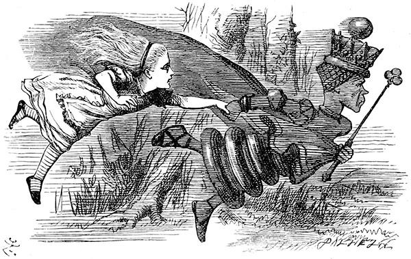 Бег Черной королевы. Иллюстрация Джона Тенниела (Sir John Tenniel) из первого издания «Алисы в Зазеркалье».