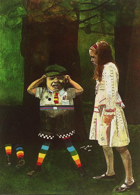 """Питер Блейк """"И вовсе она не  старая! - заплакал Труляля"""" - иллюстрация к книге Льюиса Кэррола """"Алиса в Зазеркалье"""""""
