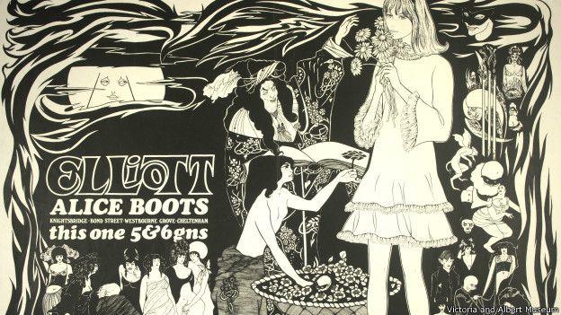 """На этом рекламном плакате 1960-х """"повзрослевшая"""" Алиса представлена такой, какой ее мог бы нарисовать культовый английский художник Обри Бердслей"""